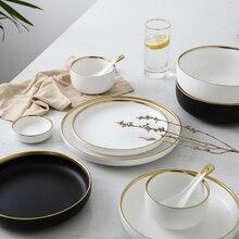 Ceramic Gold Inlay White Black Plates Steak Food Dish Nordic Style Tableware Bowl Ins Dinner Plate High Porcelain Dinnerware Set