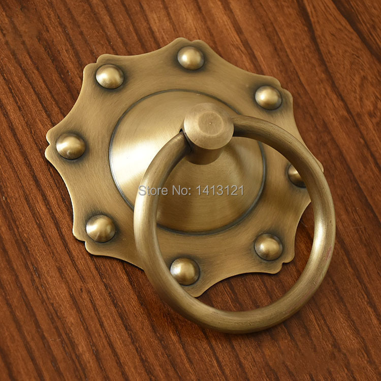 Chinese antique simple drawer knob furniture hardware Classical wardrobe cabinet shoe door handle closet cone vintage pull ring free shipping furniture brass handle knob cabinet drawer shoe closet door pull wine cooler handle diy household hardware