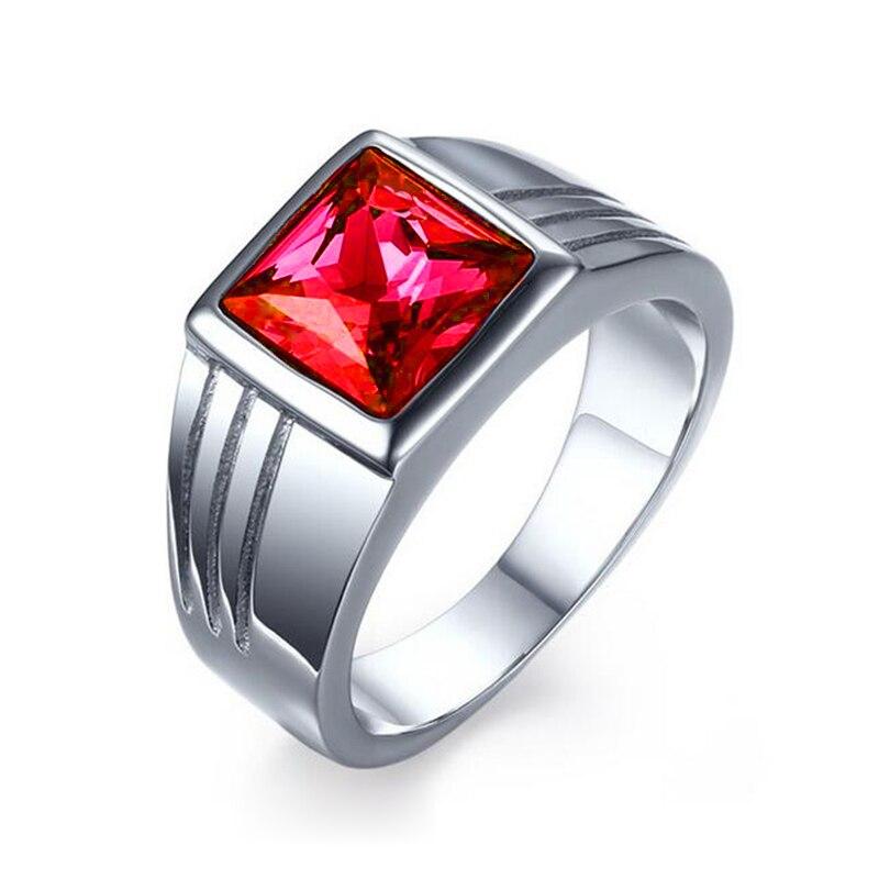 Мужское кольцо из нержавеющей стали, синее, красное кольцо с драгоценным камнем для мужчин, обручальное кольцо из титана AAA+ фианит - Цвет основного камня: Красный