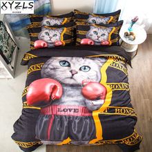 XYZLS Boxing Cat Kids Queen Bedding Set US/AU/UK Size Cotton Bedclothes Dog Twin Full King Single Bedding Kit Pets Bed Linings(China)
