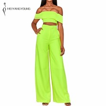 MEIYANGYOUNG Neon 2 Piece Set Women Off Shoulder Tops And Wide Leg Pants Womens Two Sets 2019 Summer Outfits Streetwear