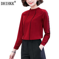 DHIHKK New Women Blouses Shirts Long Sleeve Nail Pearls Refined Elegance Blouse Formal Office Lady Shirts