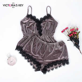 VICTORIA'S KEY Women's Sexy Pajamas Sets Brown Velvet Camis Lace Tops Shorts 2 Pieces Female Sleepwear Nightwear Pajama 2019 - DISCOUNT ITEM  29% OFF All Category