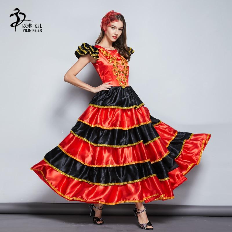 270 Graden Nieuwe Fabulous Dames Spaanse Flamenco Jurk Rood Kleine Medium Grote Maten/spaanse Flamenco Jurk/jupe Flamenco Uitstekend In Kusseneffect