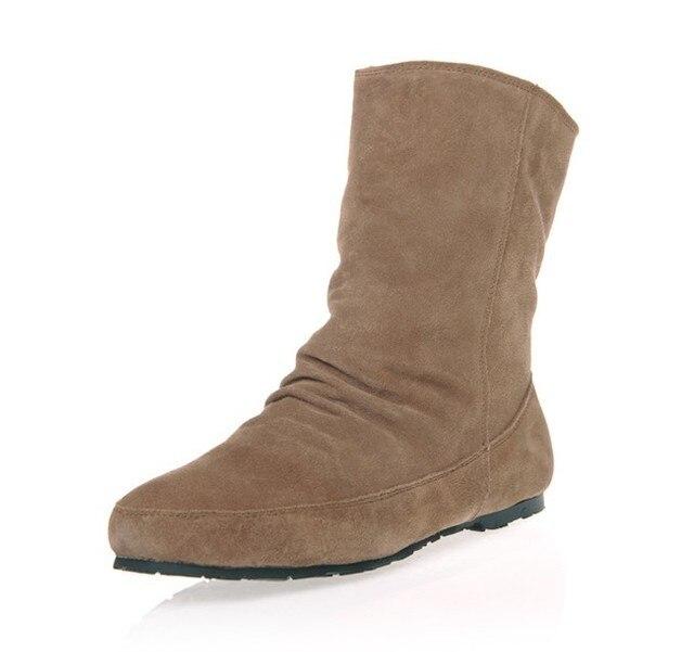 2014 genuína pele de couro velutino 19 cm altura inverno mulheres sólidos botas de neve meados de bezerro botas sapatos tamanho 36-39 Cork119
