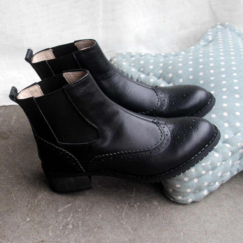 Hakiki Deri Ayak Bileği kadın Botları Brock Oyma Kış kadın Botları düz Sivri Burun ile İngiliz El Yapımı Botları Boyutu 43