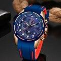 Часы LIGE мужские  модные  водонепроницаемые  с силиконовым ремешком  с секундомером  кварцевые  повседневные  спортивные  с датой
