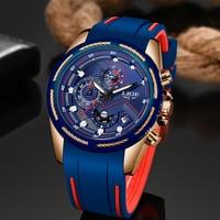 LIGE Men Watches Fashion Waterproof Silicone Strap Chronograph Male Quartz Watch Men Casual Sports Date Watch Relogio Masculino