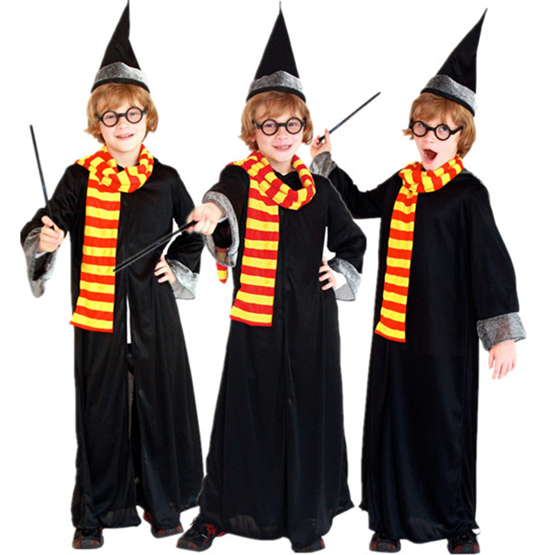 Free Shipping Harry Kids Boys Magician Costume Fancy Dress Halloween Christmas Carnival Potter Children Cosplay Clothes