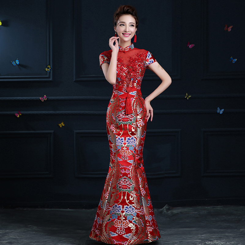 Promo Offer Chinese Traditional Dress Cheongsam Qipao Long Red Evening  Gowns Bride China Wedding Dresses Robe Chinoise Vestido Oriental 596d66504cd9
