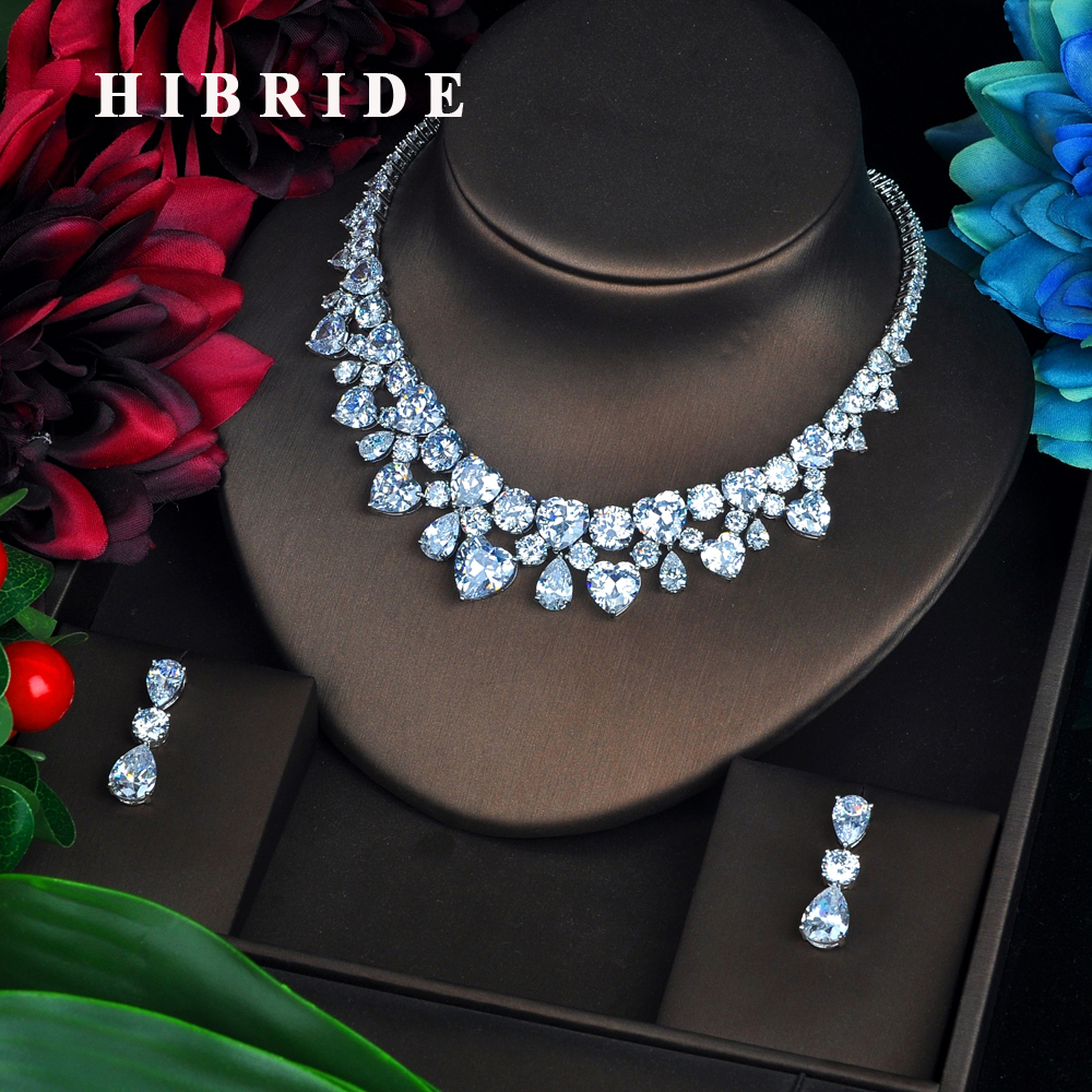 HIBRIDE Heart Shape Crystal Wedding Bridal Jewelry Sets Sliver Color Top Quality Cubic Zircon Wedding Jewelry