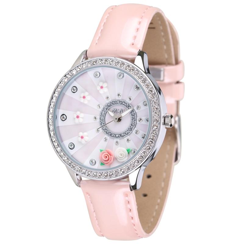 Elegant Romantic Clay Floral Watches for Women 2015 New Style MINI World Handmade Quartz Wrist watch Real Leather Reloj NW7057 mini world mn202