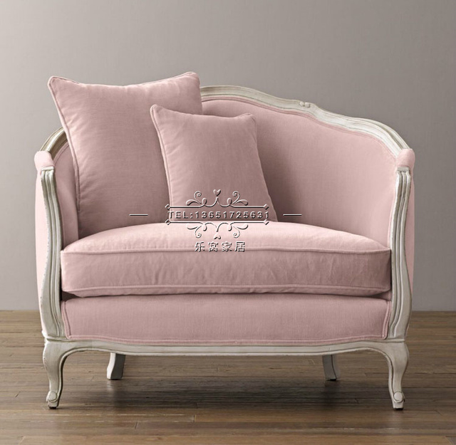 Direct American Country Wood Velvet Pink Fabric Sofa Small Apartment  Continental Armchair Custom Retro