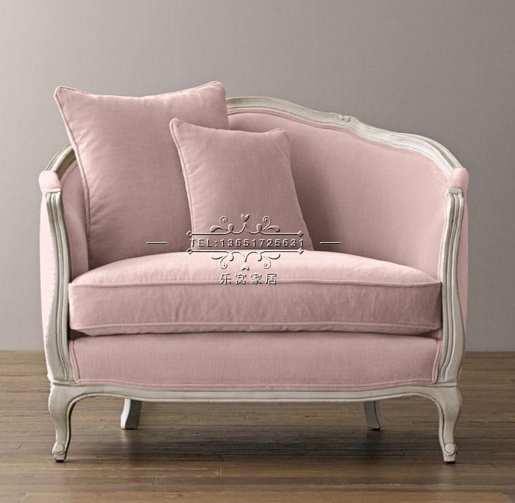 direkte American Country holz samt rosa stoff sofa kleine Wohnung Continental sessel brauch