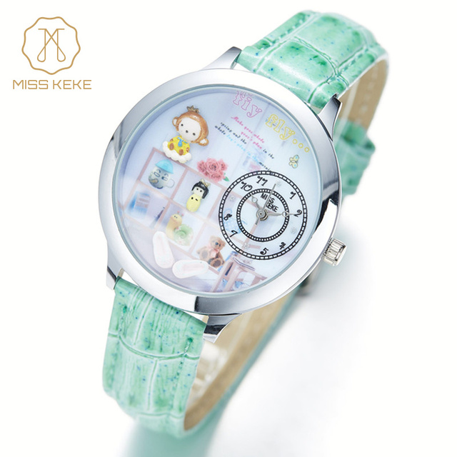 Miss Keke Children Kid Cartoon Watch Handmade 3D Clay Mini World Quartz Watches Leather Girl Waterproof Wristwatches for Women 8