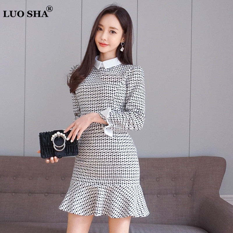 LUO SHA 2018 New Arrival Spring Ladies Dresses Plaid