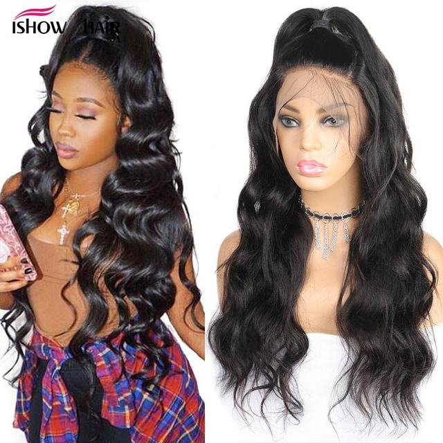 Ishow 360 Lace Frontal Wig Pre Plucked With Baby Hair Body Wave Lace Front Human Hair Wigs Remy Brazilian Hair Wigs 250% Density