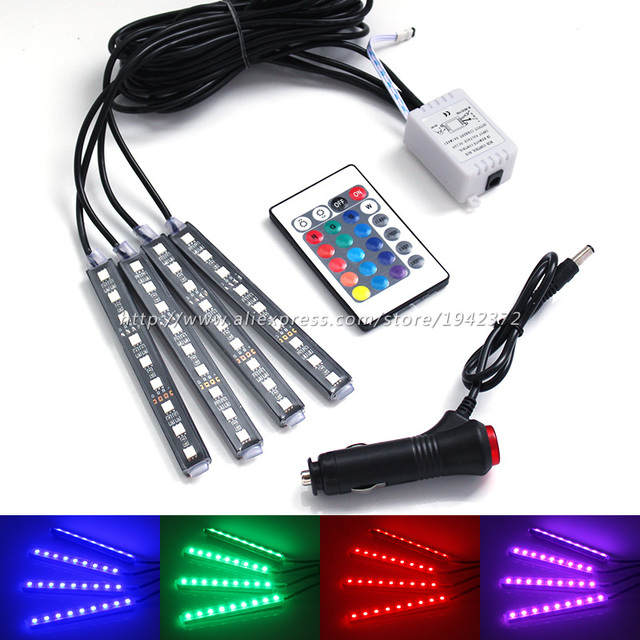 afstandsbediening rgb auto interieur floor decoratieve lamp sigaret kleurrijke draadloze controller led verlichting strip voor alle