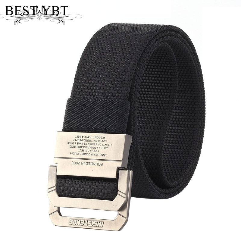 Best YBT Unisex belt fashion weaving Nylon Alloy Double ring buckle Men belt Outdoor casual sport youth solid color belt