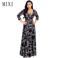 MIXI Vintage Print Hosszúruha nők 3/4 ujjú V nyakú övvel Elegáns fél ruhák alkalmi Loose Beach Nyári Maxi Dress Vestidos