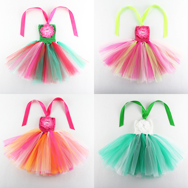 Summer Style Fashion  Girls Rainbow Dress girls tu tu dress Reine des Neiges Children Chiffon Floral  Dance Dress 16 color ozaki oc112pr