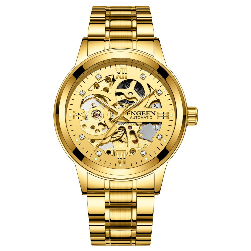 цена на FNGEEN Sport Mechanical Watch Luxury Golden Watch Mens Watches Top Brand Luxury Montre Homme Clock Men Automatic Skeleton Watch