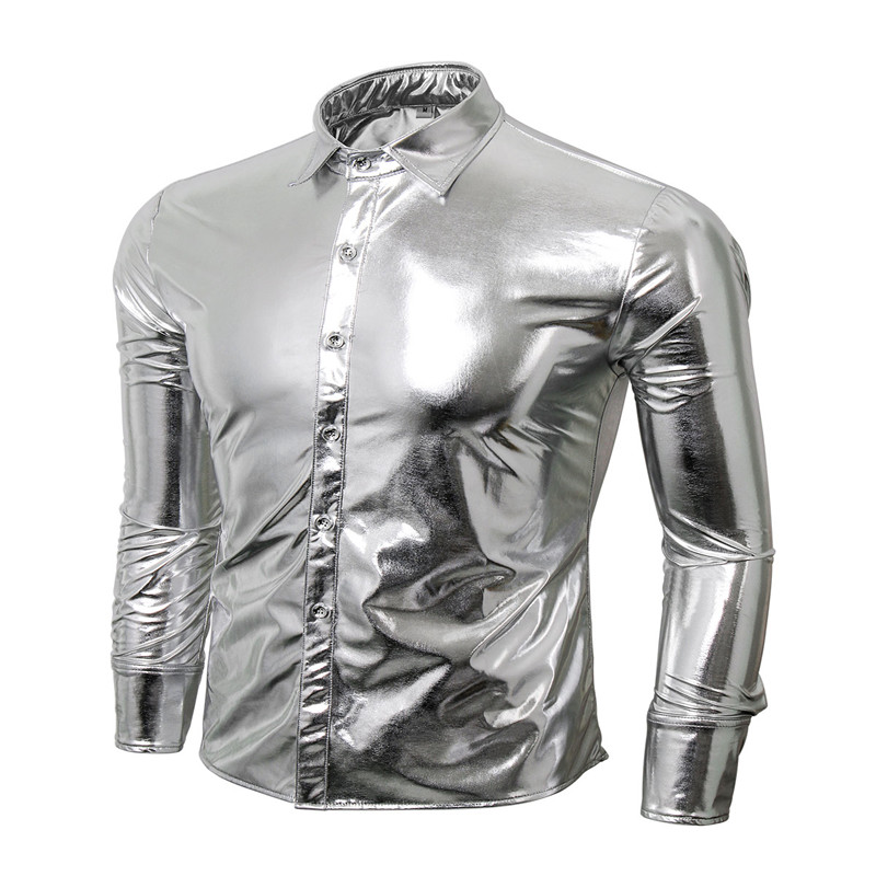 Mode Trend Nachtclub Tragen Männer Slim Fit Metallic Glänzendes Hemd Mens Hot Party Shirts Langarm Hemden
