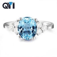 QYI 925 Sterling Silver Fine Jewelry Natural Stones Ring 2 ct Oval Cut Blue Gemstone Rings for Women Topaz Jewelry