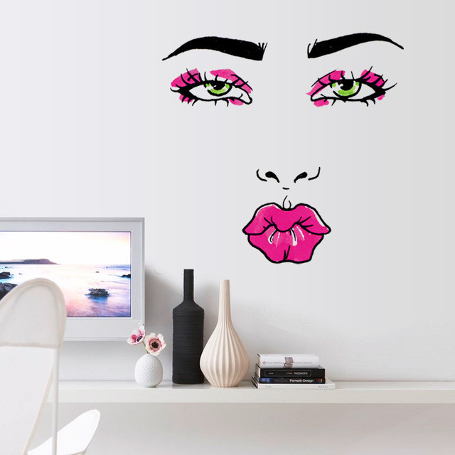 Removable funny womans lips vinyl wall stickers girls bedroom door modern wall decal wall decor mural