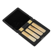 Yibuy Wooden Saxophone Reed Case for 4 Reeds Hold Open Easily Close Tightly Black
