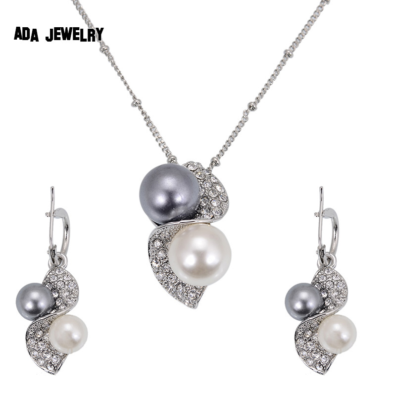 Classic Fashion Peal Jewelry Sets For Women Engagement: Luxury Brand Imitation Pearl Necklace Earrings Wedding