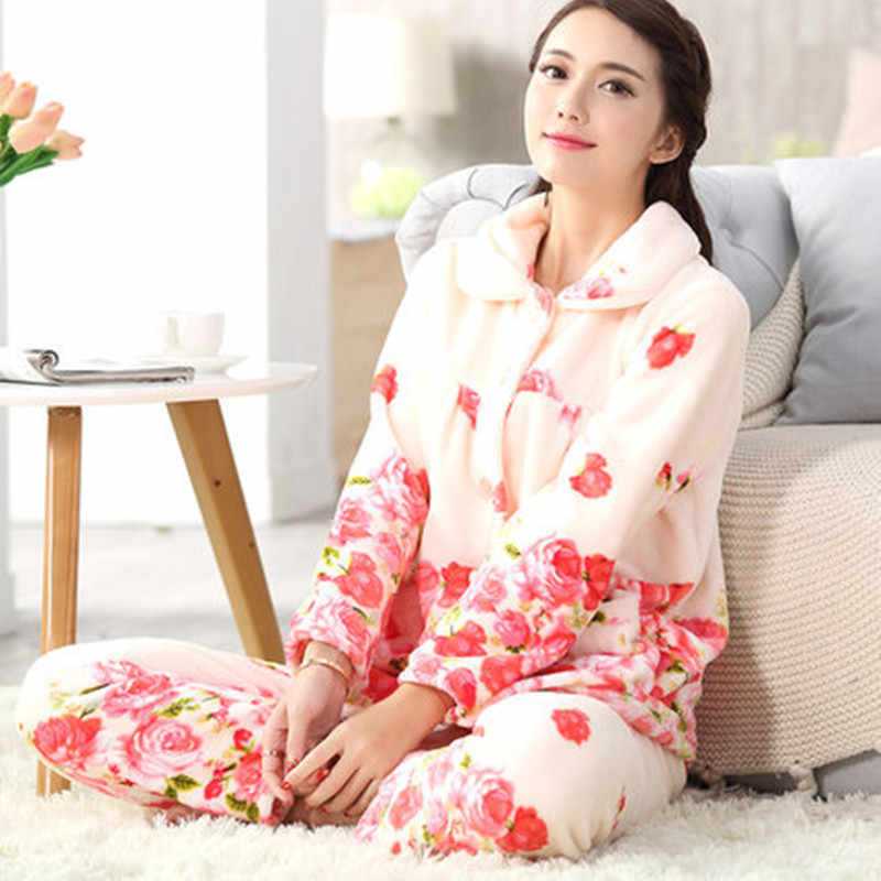 ... Winter Women Thick Pajamas Sets Flannel Long Sleeved Warm Suit female  Sleepwear Autumn Homewear Suit Female 14d879347