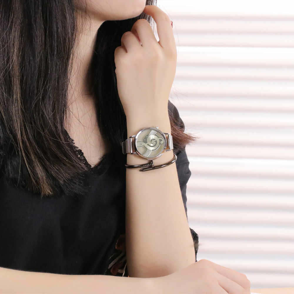 رائع الفاخرة ماركة الأزياء مذكرة الموسيقى تدوين ساعة المقاوم للصدأ شبكة عارضة ساعات اليد للرجال والنساء الفضة