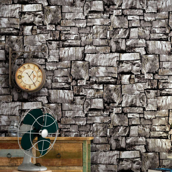 ФОТО 10M 3 Colors Rustic Vintage 3D PVC Brick Wall Wallpaper Roll Embossed Texture Photo Faux Stone Effect Wall Paper Home Decor