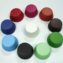 Прямая 50 шт белый/черный/темно-синий/коричневый/зеленый однотонный бумажный вкладыш для кексов форма для выпечки кексов