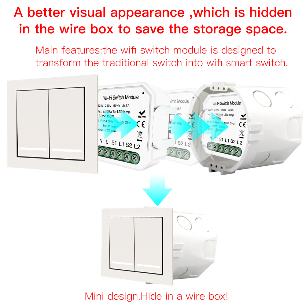 Image 5 - 2 Gang 2 way WiFi Smart Light Switch Hidden Diy Module Smart Life/Tuya APP Remote Control Works with Alexa Echo Google Home-in Switches from Lights & Lighting