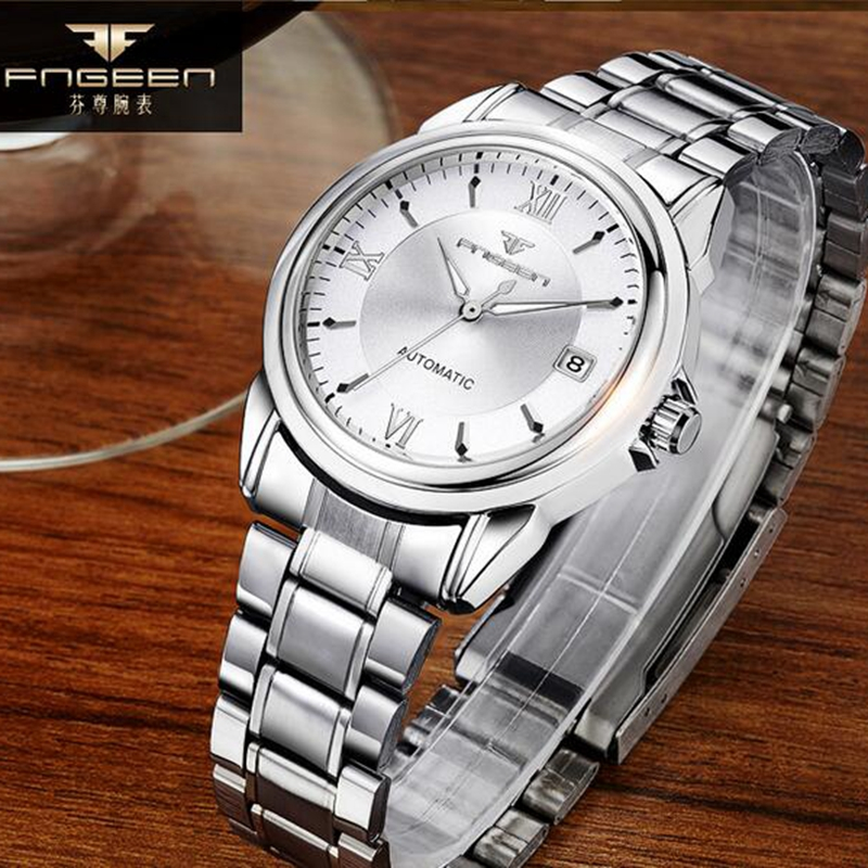 Relogio Masculino FNGEEN Mens Watches Top Brand Luxury Automatic Mechanical Watch Gold Men Steel Business Waterproof Sport Clock