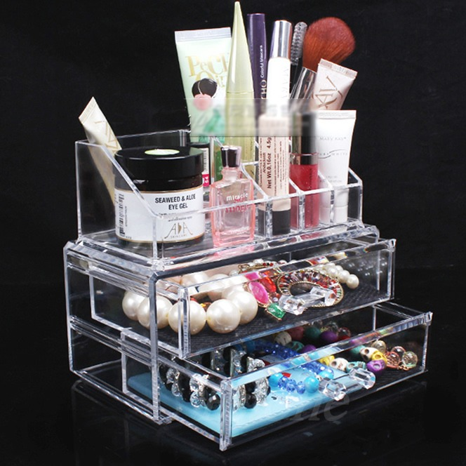 Clear Acrylic Cosmetic Makeup Case Organizer Holder Drawers Jewelry Storage Box large box acrylic makeup cosmetic case stand insert holder rack organizer glossy makeup organizer 3 layer drawers transparent