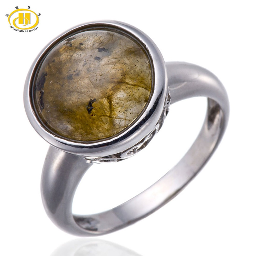 Hutang Natural Labradorite Round Solid Pure 925 Sterling Silver Ring Fine Jewelry New Fine Jewelry Wholesale