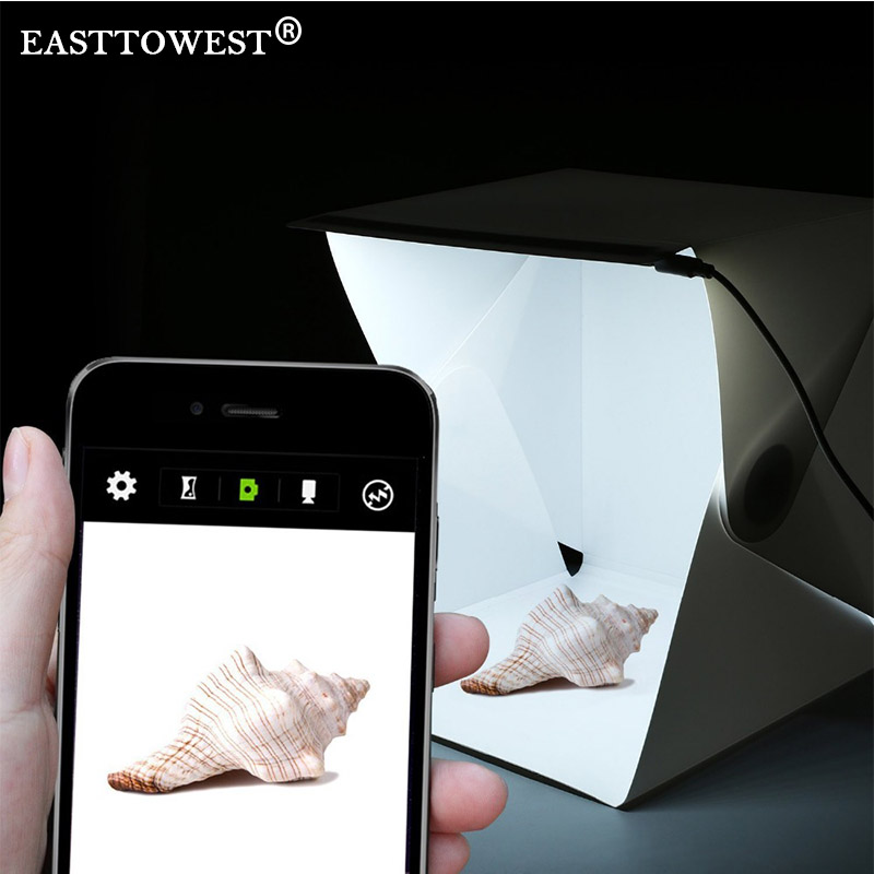 easttowest folding photography studio box lightbox softbox led light box for iphone samsang htc. Black Bedroom Furniture Sets. Home Design Ideas
