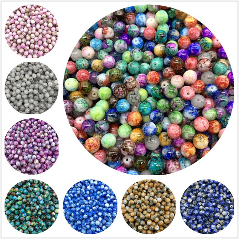 Glass Beads Charms Earrings Diy Bracelet Jewelry-Making Round Loose 10mm 6mm 8mm
