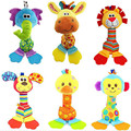 Colorful Cute Animal Dog Duck Elephant Monkey Handbells Developmental Teether Toy Bed Bells Kids Baby Soft Plush Toys Rattle
