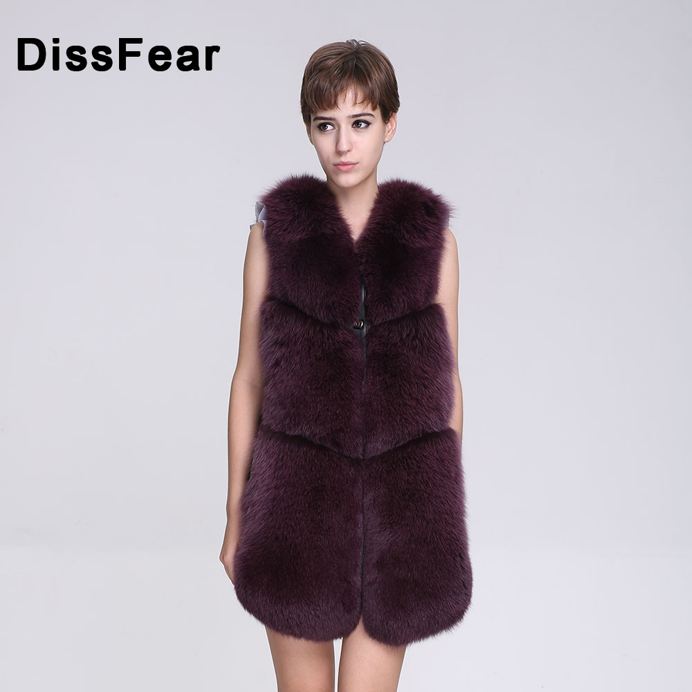 Хай стрит зимние Для женщин из натурального меха лисы Жилет женский без рукава одноцветное тонкое меховое пальто с v образным вырезом леди ц