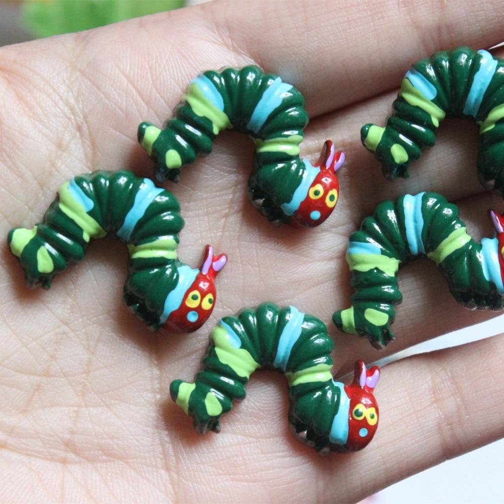 10pcs/lot   Flat Back Resin Planar Caterpillar  DIY Resin Cabochons Accessories About30*25mm