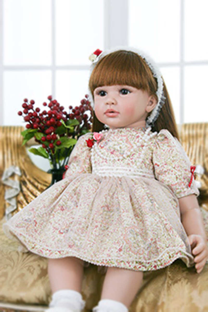 Pursue 24/60 cm Silicone Reborn Babies Brown Long Hair With Hairpin Beautiful Floral skirt Like Life Real Girl Cloth Body Soft цена