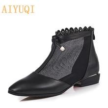 Купить с кэшбэком AIYUQI Women mesh sandals 2019 spring new genuine leather women fashion sandals,big size 41 42 43 bow rhinestone shoes women