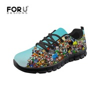 FORUDESIGNS 2018 Casual Shoes Women Cartoon Game Characters Print Breathable Mesh Flat Female Platform Sneakers Chaussure Femme