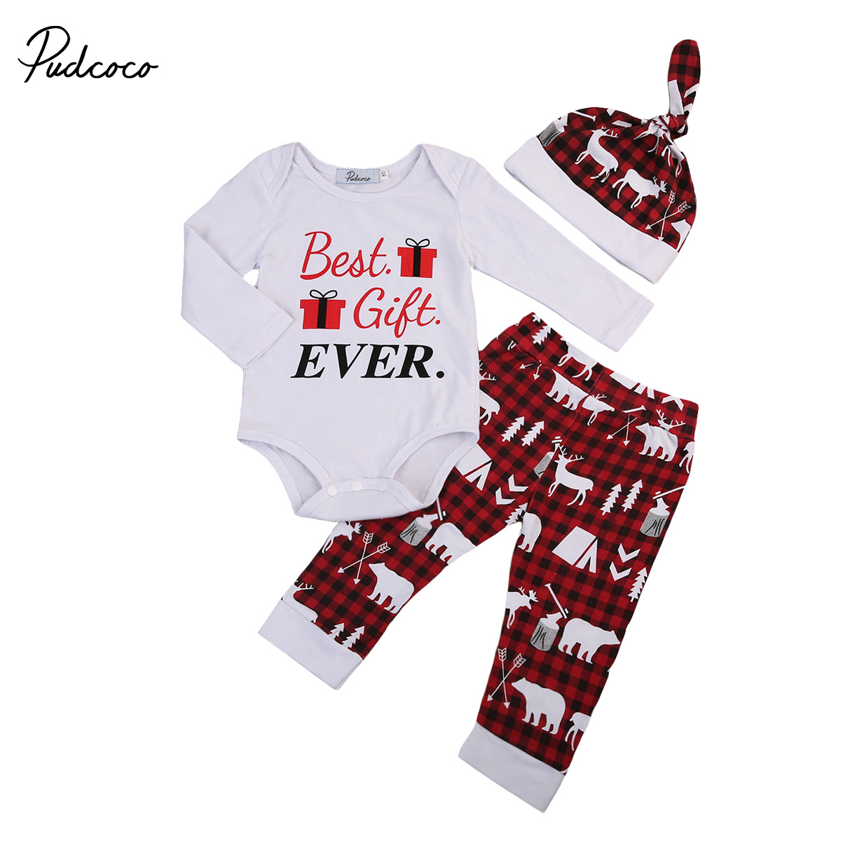 2017 christmas newborn toddler baby boys girls winter clothes long sleeve romper bodysuit pants outfits set 4pcs hat handband 2017 Christmas Newborn Baby Boys Girls Winter Clothes Romper Jumpsuit Plaid Pants Legging Hat Outfits Best Gift Ever 0-24M