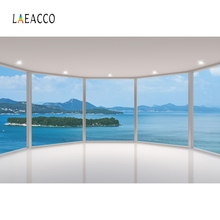 Laeacco Tropical Sea View House Window Island Child Interior Photo Backgrounds Customized Photography Backdrops For Studio