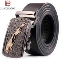 JUNXIANG Men S Genuine Leather Belt With Automatic Buckle Black Brown Belt For Man 35mm Wide